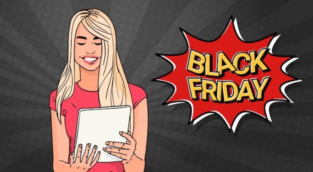 Banner de venda sexta-feira negra com garota usando computador tablet Vetor Premium