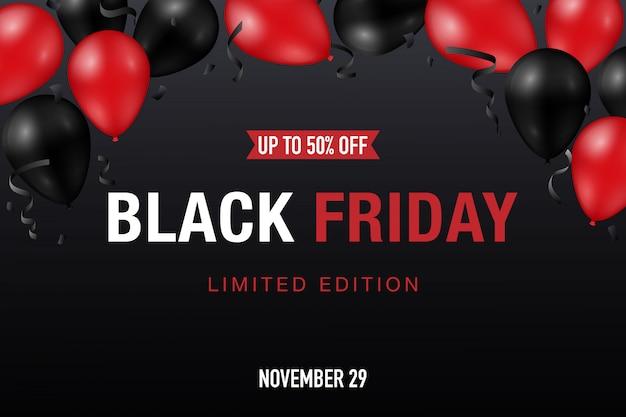 Banner de venda sexta-feira preta com balões vermelhos e pretos brilhantes Vetor Premium