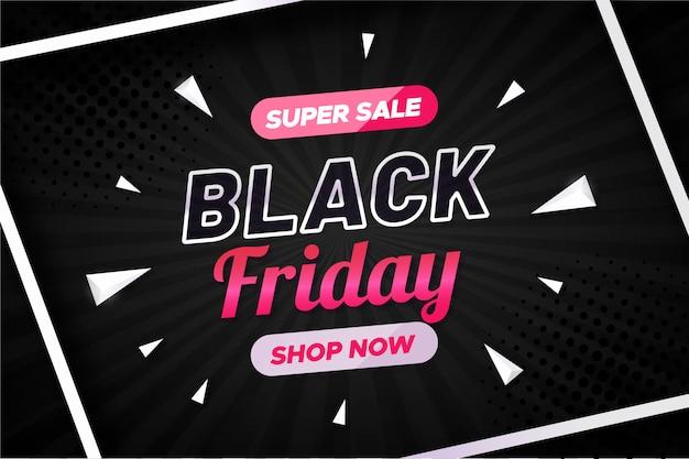 Banner de venda sexta-feira preta com formas geométricas Vetor grátis