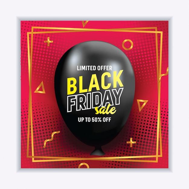 Banner de venda sexta-feira preta realista com balão Vetor Premium
