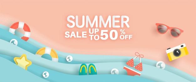 Banner de venda verão com elemento de verão em estilo de corte de papel Vetor Premium