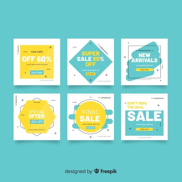 Banner de venda web para mídias sociais Vetor grátis