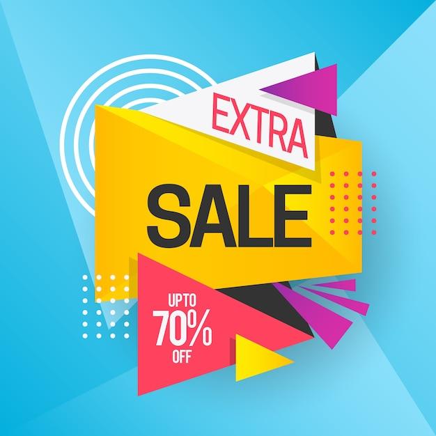 Banner de vendas colorido com venda extra Vetor grátis