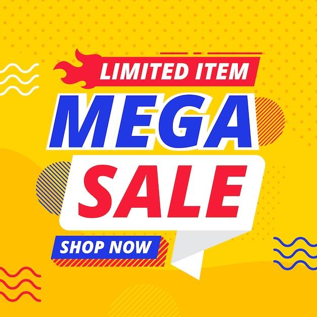 Banner de vendas com elementos de memphis Vetor grátis