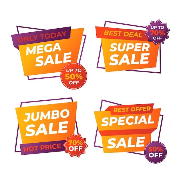 Banner de vendas de promoção colorida Vetor Premium