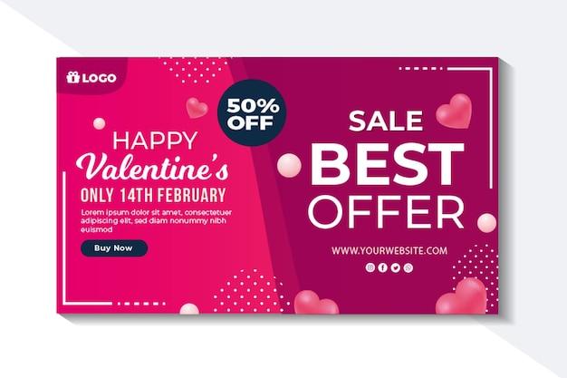 Banner de vendas do dia dos namorados com desconto Vetor grátis