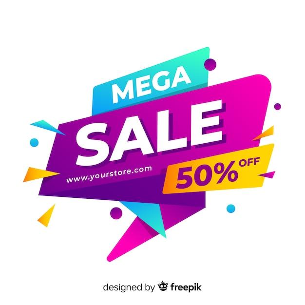 Banner de vendas em estilo colorido abstrato Vetor grátis