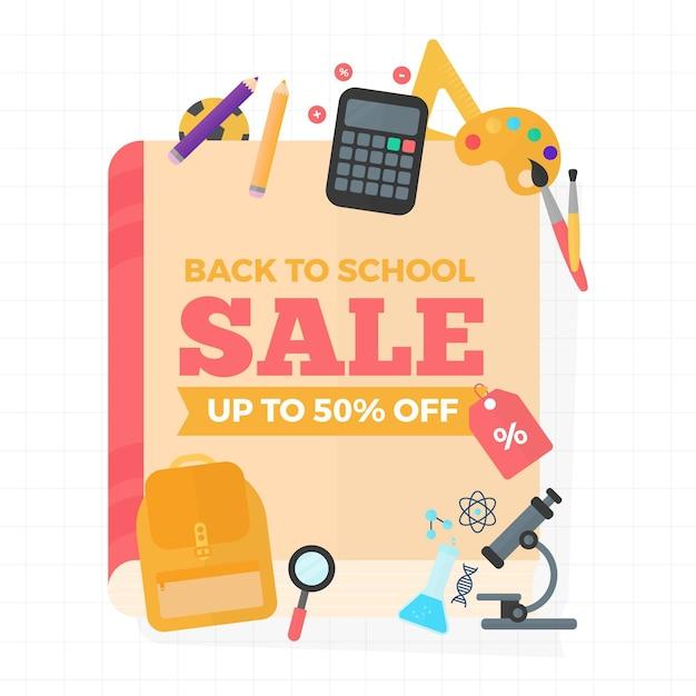 Banner de vendas para voltar às aulas Vetor grátis
