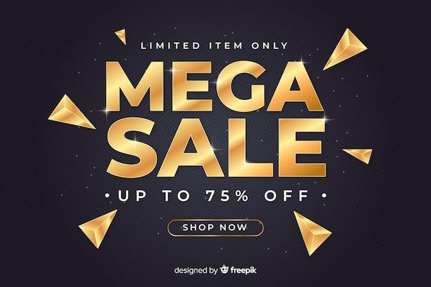 Banner de vendas preto com letras douradas Vetor grátis
