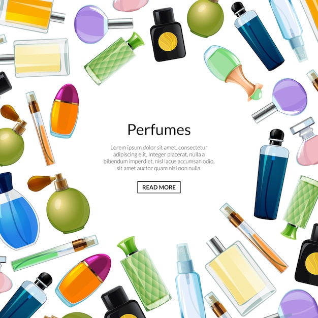Banner de vetor com frascos de perfume Vetor Premium