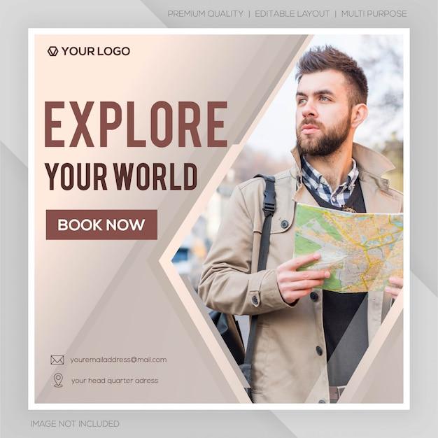 Banner de viagens de mídia social Vetor Premium