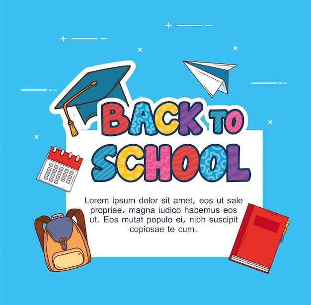Banner de volta às aulas, com conjunto de materiais didáticos Vetor Premium