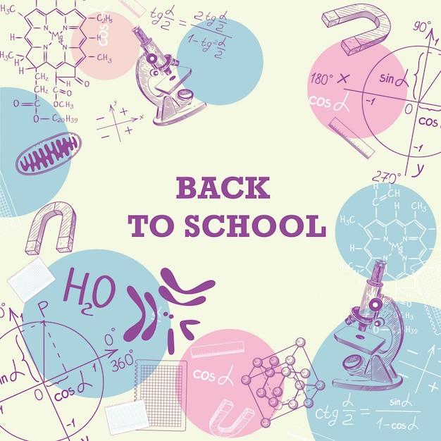 Banner de volta para a escola com uma foto de material escolar. Vetor Premium