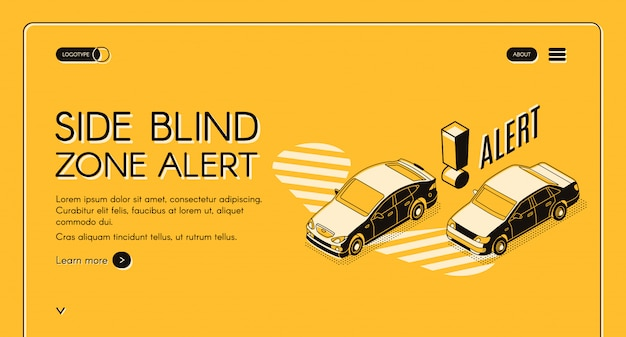 Banner de web de alerta de zona cega de lado, modelo de site de internet com carros em movimento no trânsito Vetor grátis