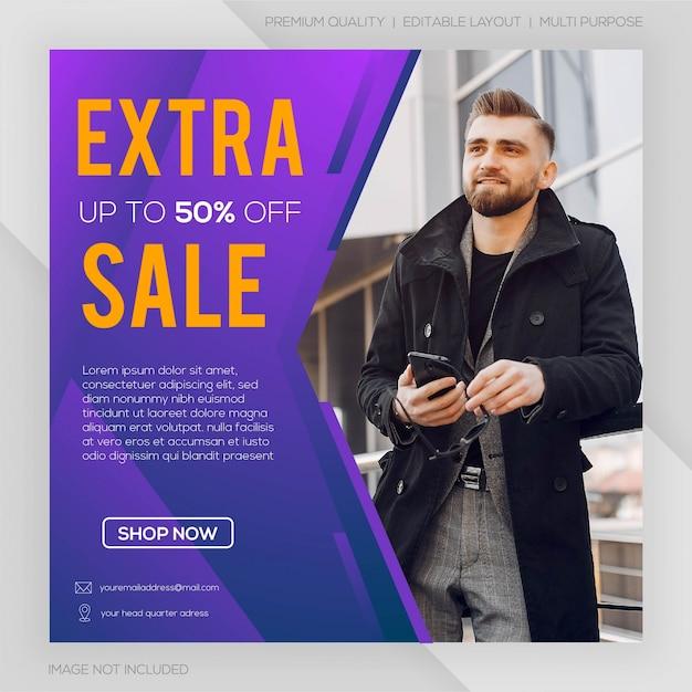Banner de web de mídia social de venda extra Vetor Premium