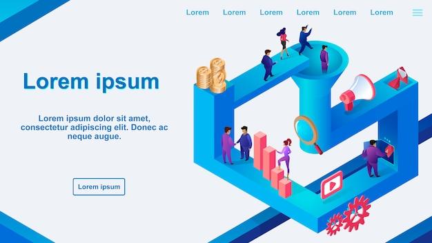Banner de web de vetor de otimização de conversão de leads Vetor Premium