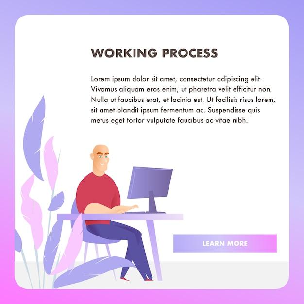 Banner de web do empresário personagem processo de trabalho Vetor grátis