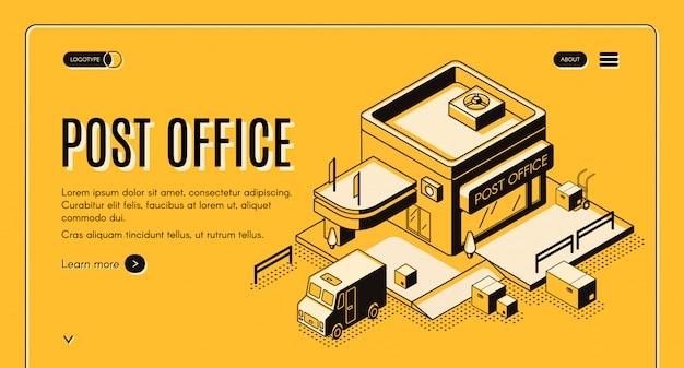 Banner de web vector isométrica empresa postal com carregamento de caminhão ou van de correio Vetor grátis