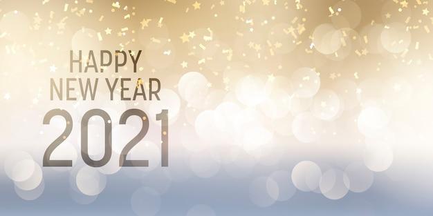 Banner decorativo de feliz ano novo com luzes de bokeh e design de confetes Vetor grátis