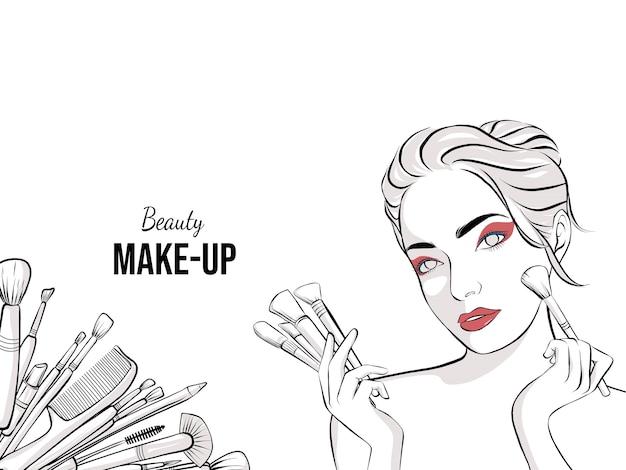 Banner desenhado à mão para maquiador Vetor Premium