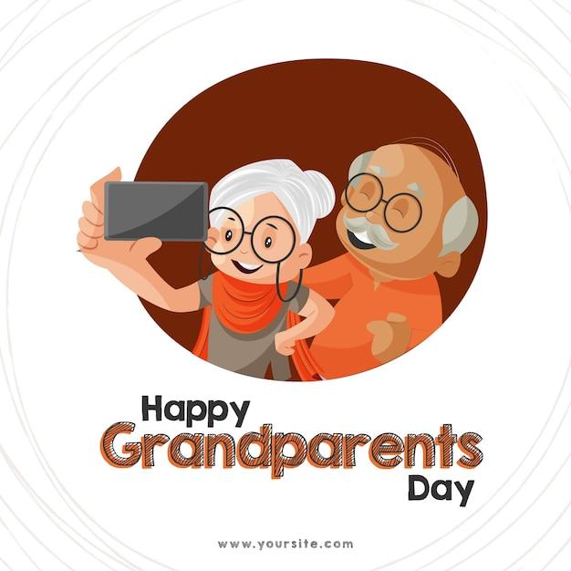 Banner design para feliz dia dos avós Vetor Premium