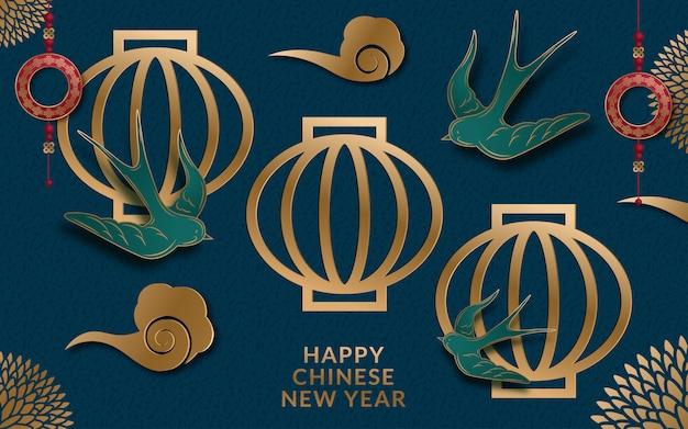 Banner do ano lunar com lanterna e flores em estilo de arte de papel Vetor Premium