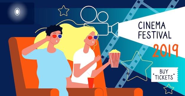 Banner do cinema. conceito de festival de cinema com personagens felizes assistindo desenho vetorial de cartaz de filme com lugar para texto. entretenimento de pôster de filme, ilustração de estreia de banner de cinema Vetor Premium