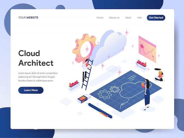 Banner do cloud architect da página de destino Vetor Premium