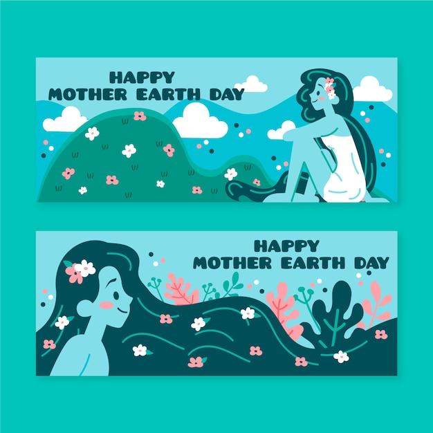 Banner do dia da mãe terra com mulher e natureza Vetor grátis