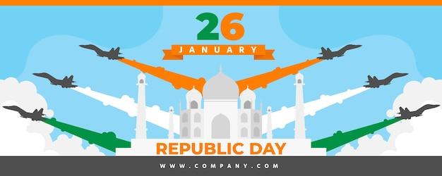 Banner do dia da república de design plano Vetor grátis