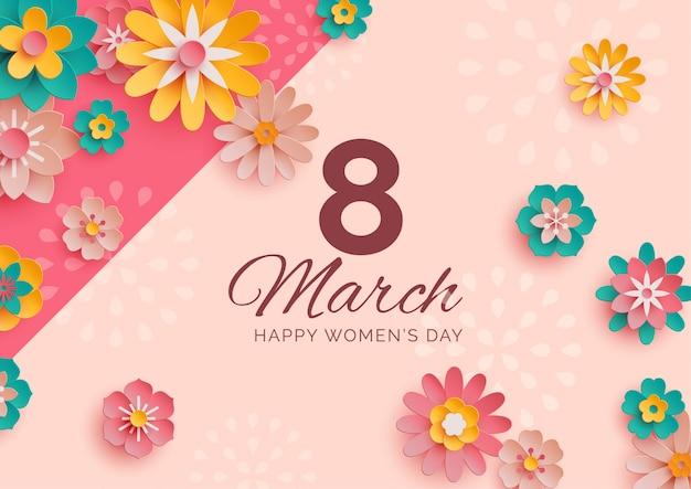 Banner do dia das mulheres com flores de papel dispersas Vetor Premium