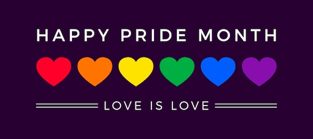 Banner do dia do orgulho com bandeira de corações Vetor grátis