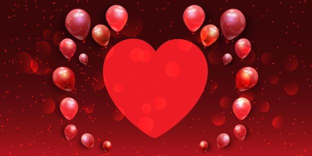 Banner do dia dos namorados com coração e balões Vetor grátis