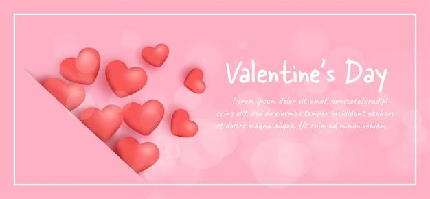 Banner do dia dos namorados com corações. Vetor Premium