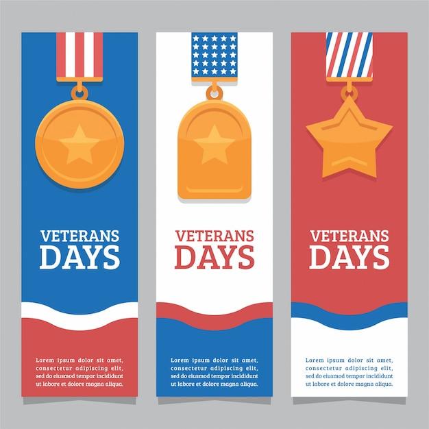 Banner do dia dos veteranos Vetor Premium