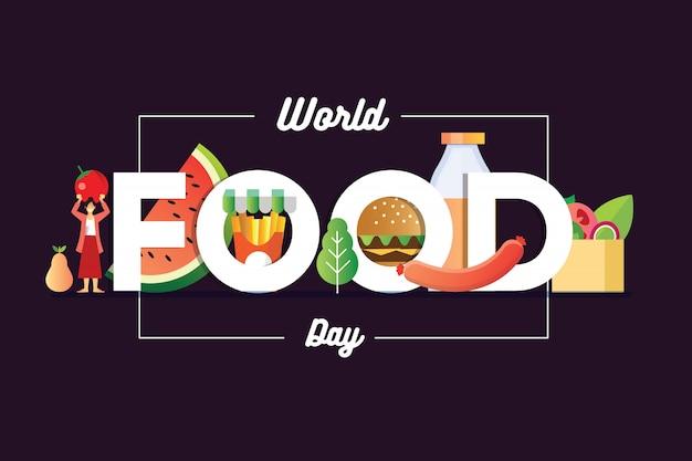 Banner do dia mundial da comida com uma garota segurando uma fruta e hambúrguer sosis e uma cesta de salada Vetor Premium