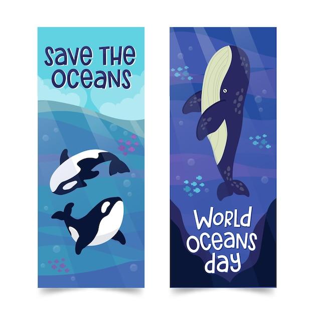 Banner do dia mundial dos oceanos cenografia Vetor grátis