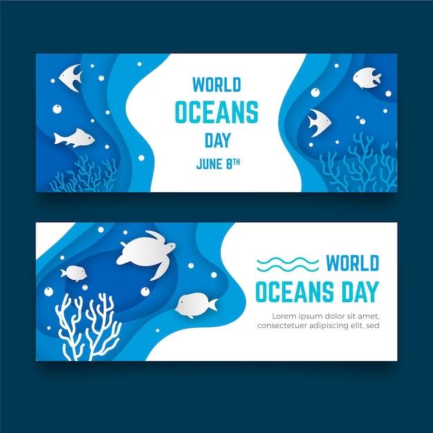 Banner do dia mundial dos oceanos em estilo de jornal Vetor grátis