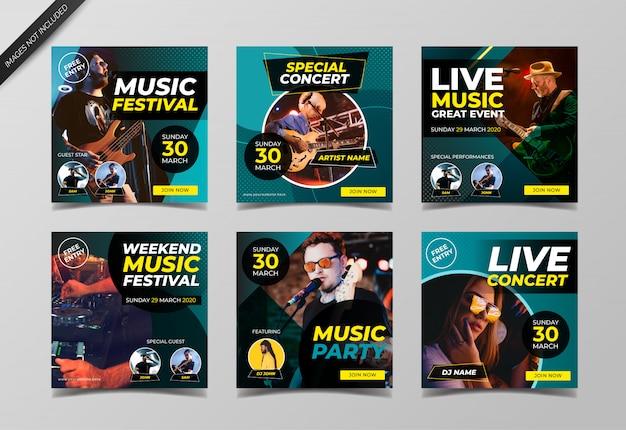 Banner do festival de música para mídias sociais postar modelo Vetor Premium