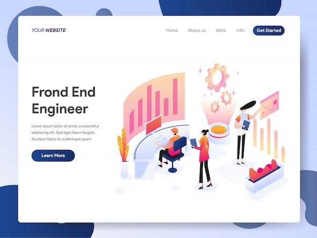 Banner do front end engineer da página de destino Vetor Premium