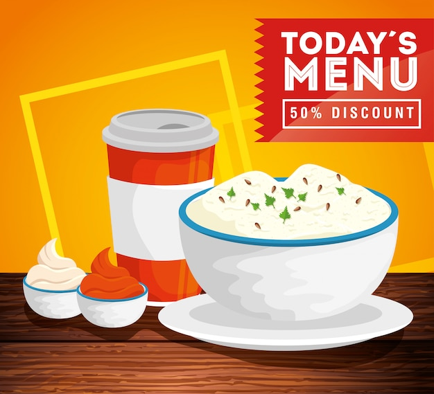 Banner do menu de hoje com cinquenta de desconto e comida deliciosa Vetor grátis
