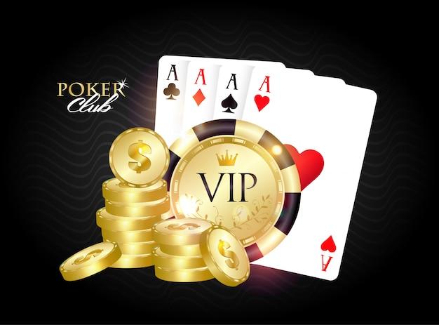 Banner do vip poker club. Vetor Premium