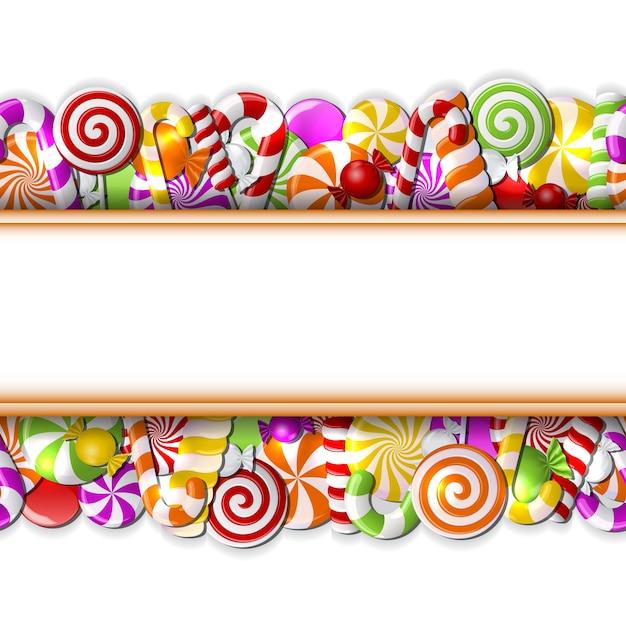 Banner doce com ilustração de doces coloridos Vetor Premium