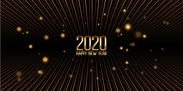 Banner dourado feliz ano novo Vetor grátis