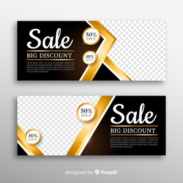 Banner dourado para vendas de compras Vetor grátis
