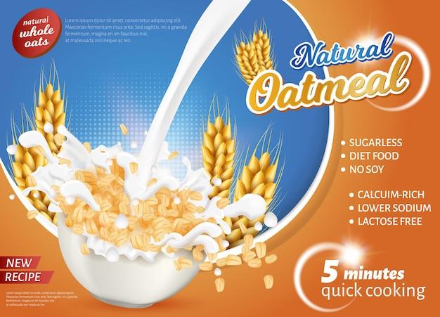 Banner é escrito nova receita natural qatmeal. Vetor Premium