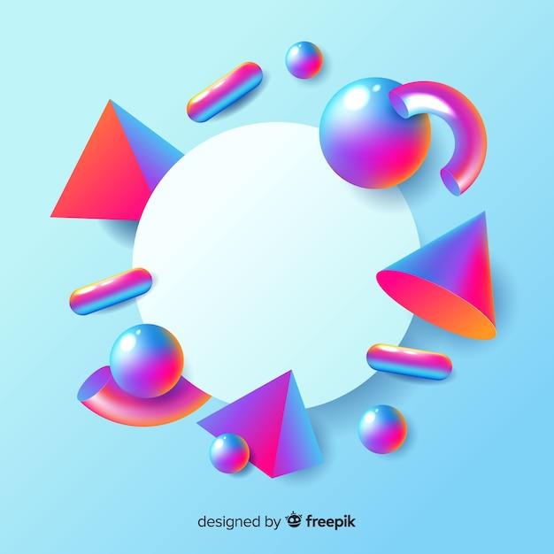 Banner em branco com formas geométricas tridimensionais Vetor grátis