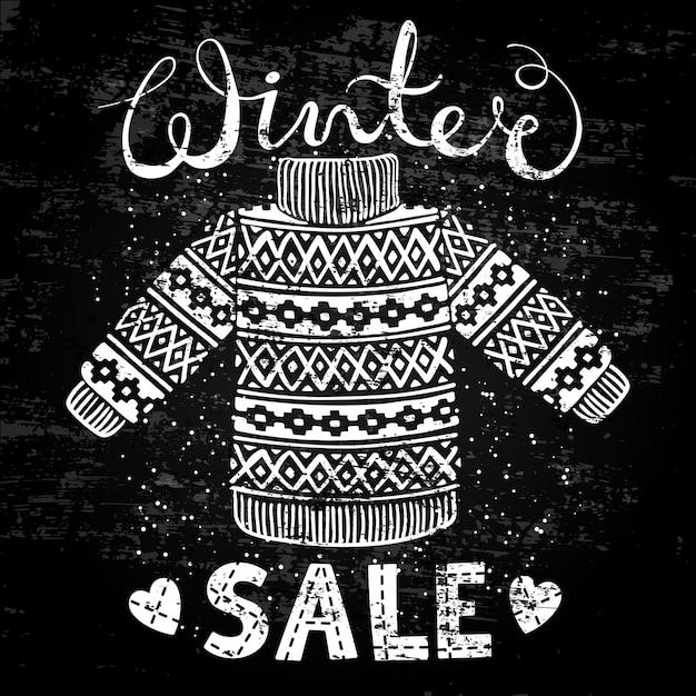 Banner especial de inverno, etiqueta com pulôver de lã ou suéter de malha Vetor Premium