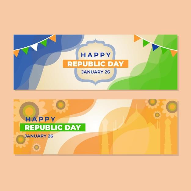 Banner feliz dia da república Vetor grátis