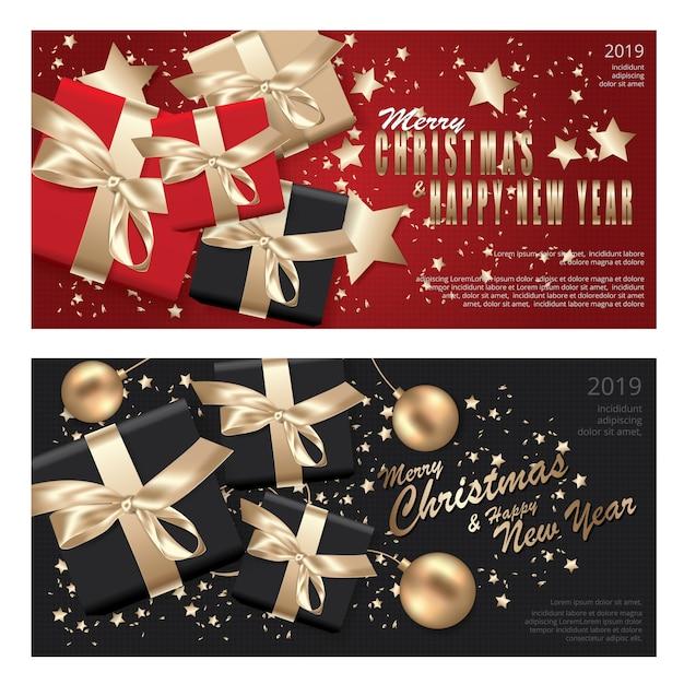 Banner feliz natal e feliz ano novo modelo de banner Vetor Premium